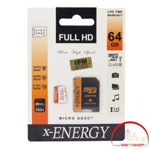 رم میکرو ۶۴ گیگ ایکس-انرژی X-ENERGY 533X U3 C10 80MB/s